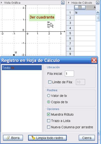 Registro en Hoja de Cálculo - GeoGebra Manual