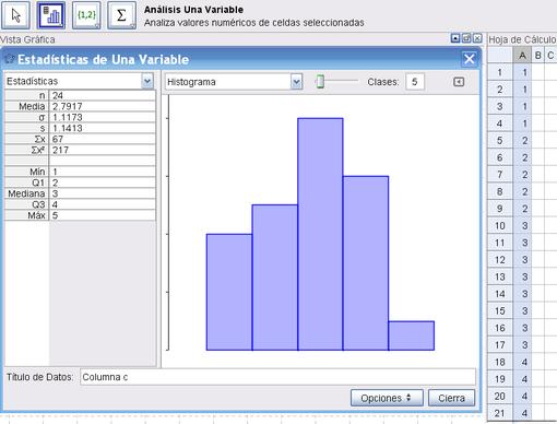 Hoja de Cálculo Estadística Básica - GeoGebra Manual